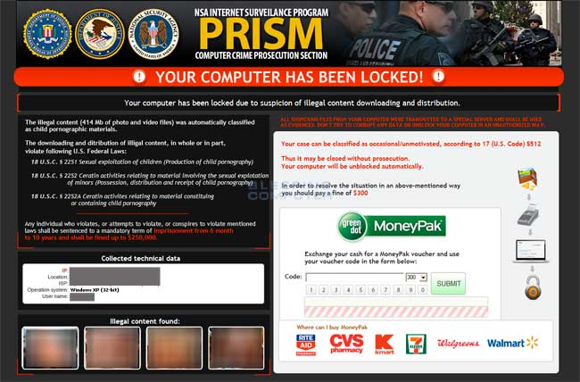 NSA/ FBI MoneyPak Ransomware Alert!