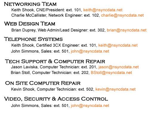 Nsync Staff Email
