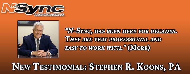 Stephen R. Koons Client Testimonial